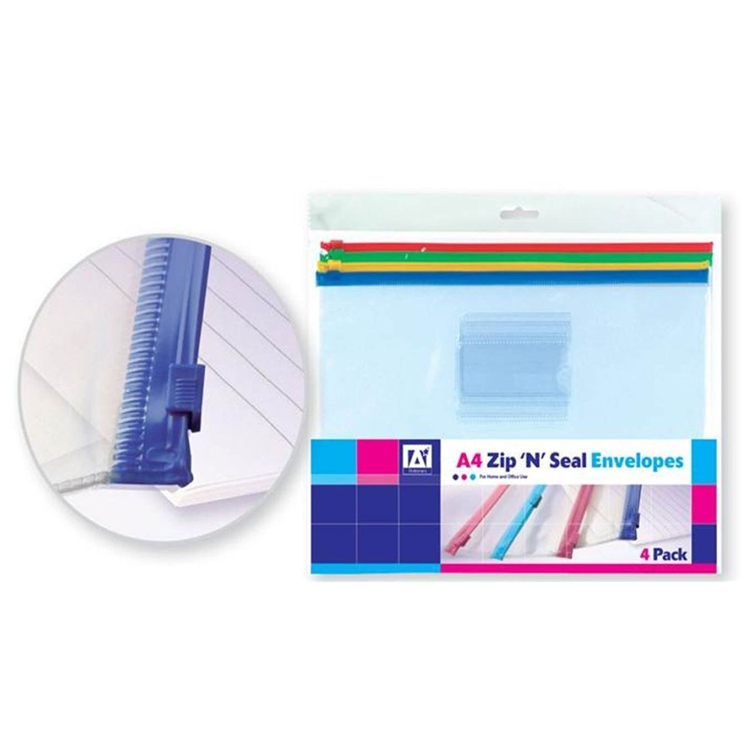A4 Zip and Seal Plastic Envelopes Pack of 4