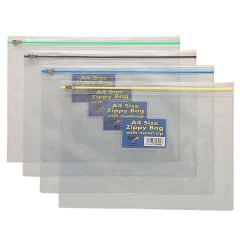 A4+ Zippy Bags Pack of 5 Assorted Colours