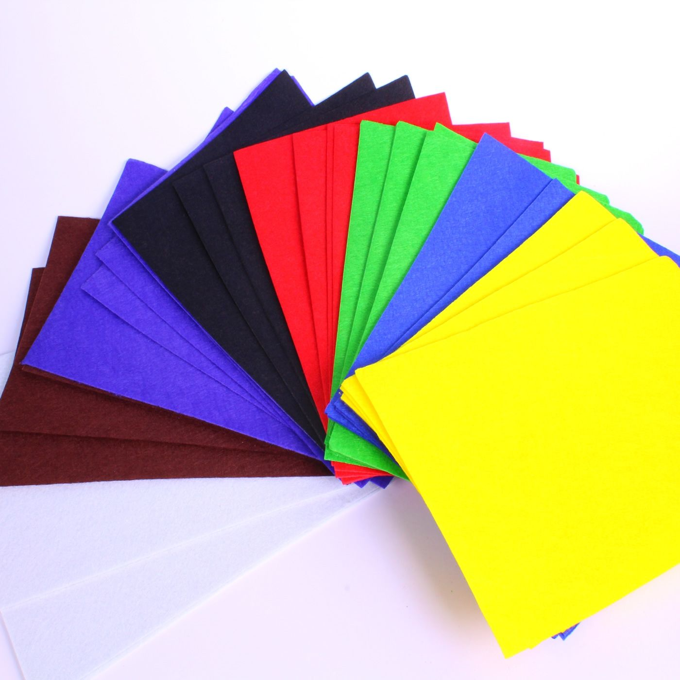 brightly coloured felt sheets