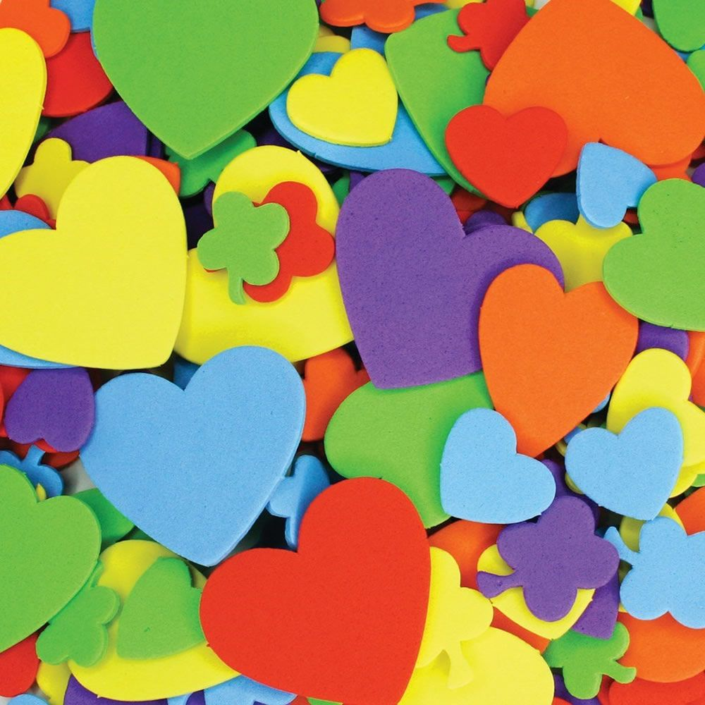 Foam hearts and flowers