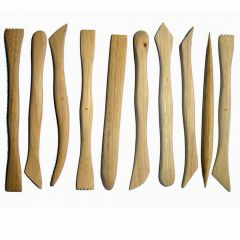 Wooden double ended clay tool set
